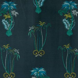 Jungle Palms Velvet Navy